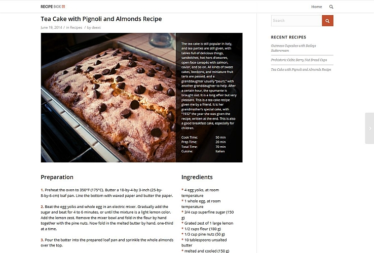 Recipe Box WordPress Plugin via CodeCanyon