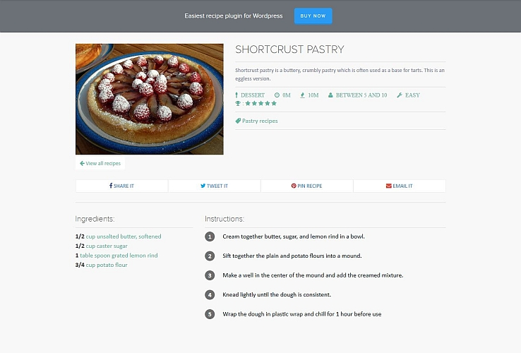 Simplified Recipe WordPress Plugin via CodeCanyon