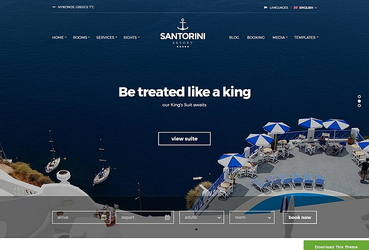 Santorini Rseort WordPress Theme by cssigniter