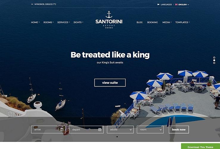 Santorini Rseort WordPress Theme by cssigniter