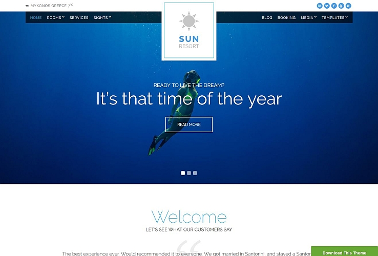 Sun Resort WordPress Theme by cssigniter