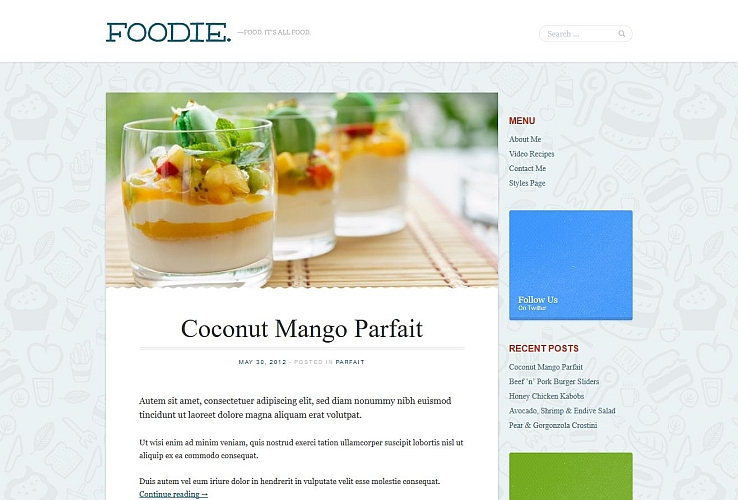 Foodie WordPress Theme by Mint Themes