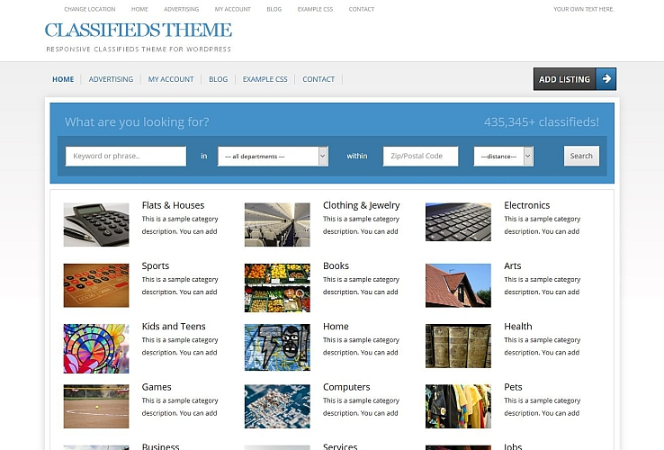 Classifieds Theme WordPress Theme by PremiumPress