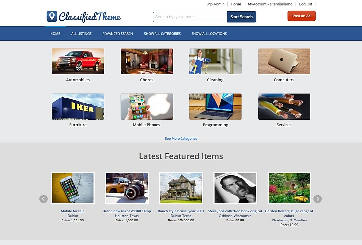 ClassifiedTheme WordPress Theme by Sitemile