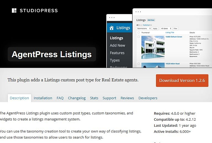 AgentPress Listings WordPress Plugin by StudioPress