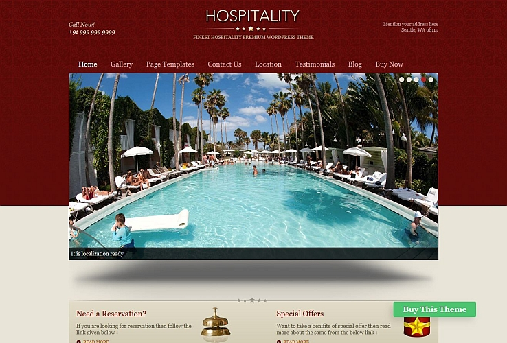 Hospitality WordPress Theme by Templatic
