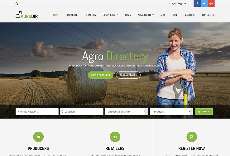 Agrodir WordPress Theme via ThemeForest