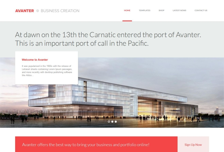 Avanter WordPress Theme via ThemeForest
