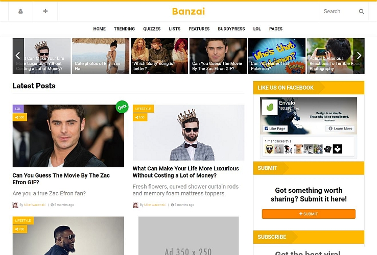 Banzai WordPress Theme via ThemeForest