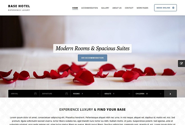Base Hotel WordPress Theme via ThemeForest