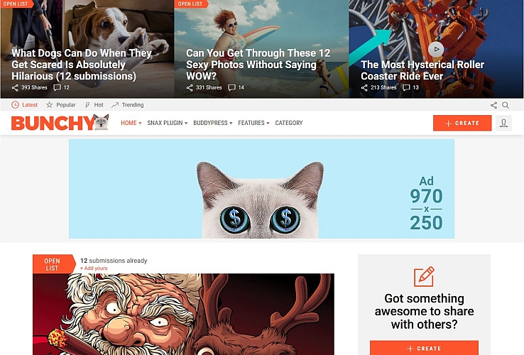 Bunchy WordPress Theme via ThemeForest