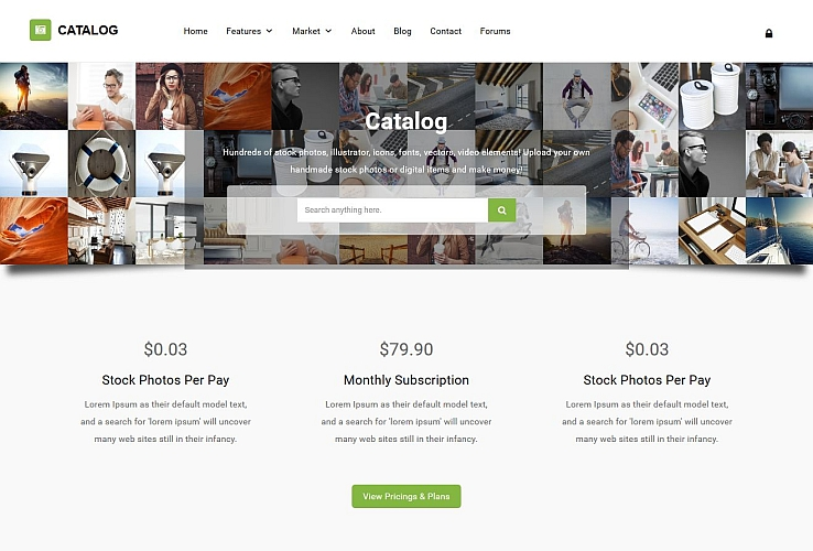 Catalog Photostock WordPress Theme via ThemeForest