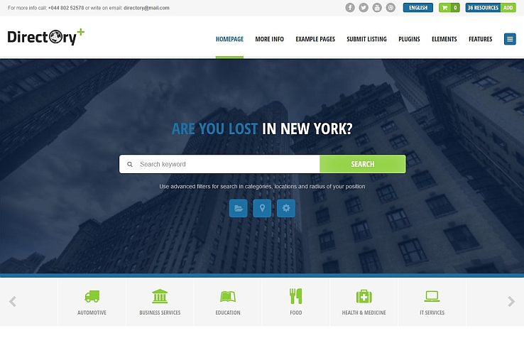 Directory Portal WordPress Theme via ThemeForest
