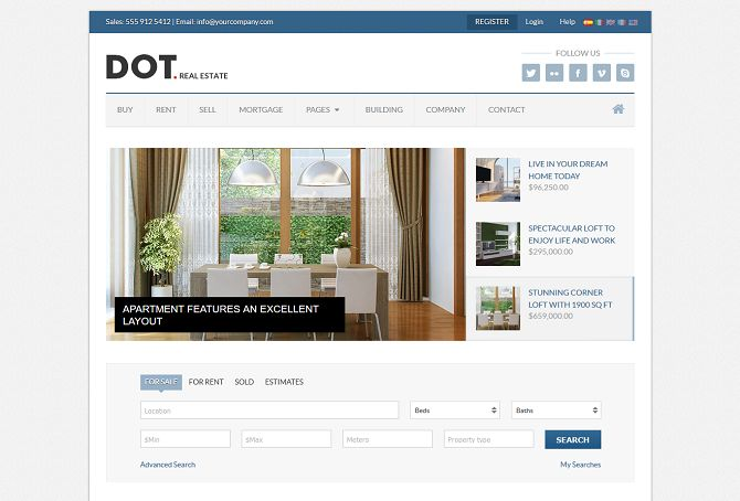 Dot Real Estate HTML Website Template via ThemeForest