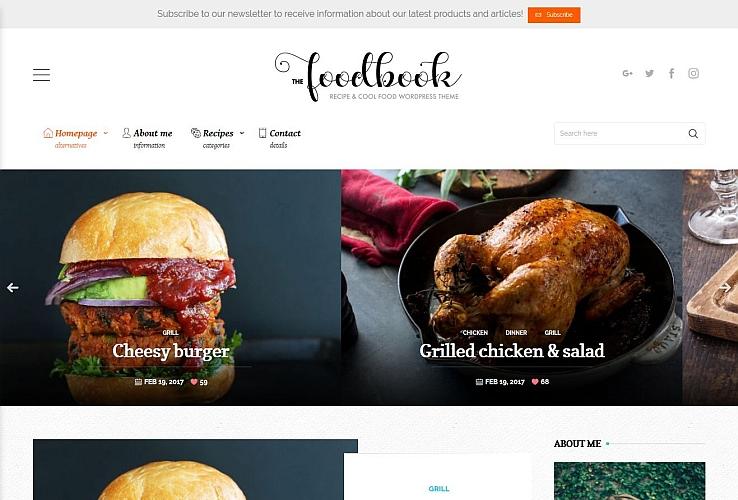 Foodbook WordPress Theme via ThemeForest