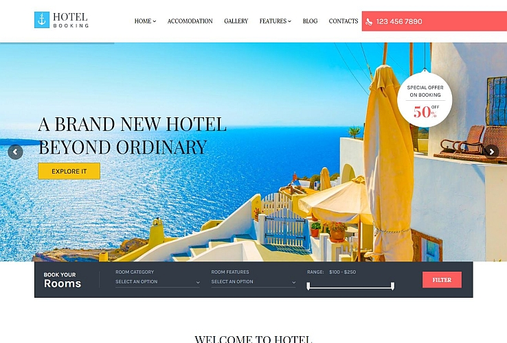 Hotel Booking WordPress Theme via ThemeForest