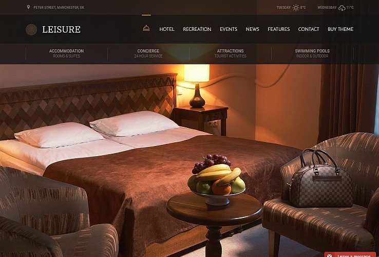 Hotel Leisure WordPress Theme via ThemeForest