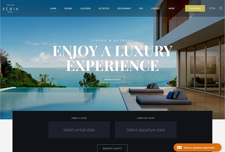 Hotel Xenia WordPress Theme via ThemeForest