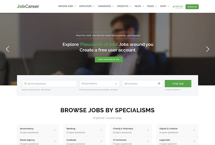 JobCareer WordPress Theme via ThemeForest