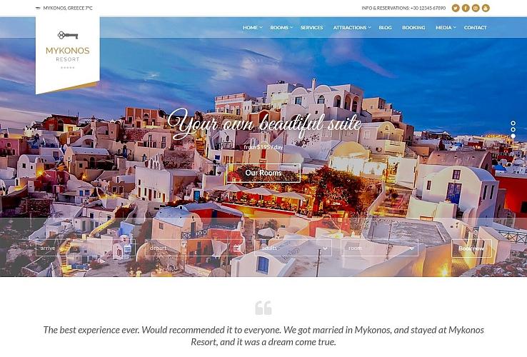 Mykonos Resort WordPress Theme via ThemeForest