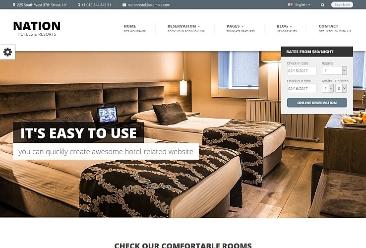 Nation Hotel WordPress Theme via ThemeForest