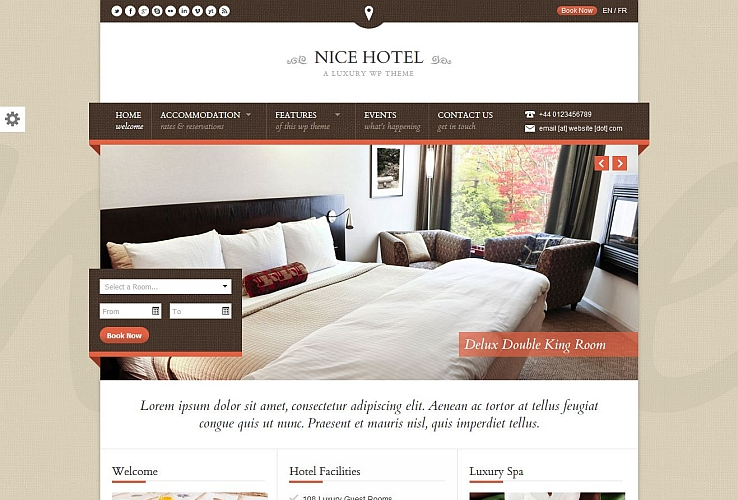 Nice Hotel WordPress Theme via ThemeForest