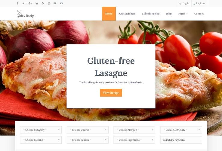 Quick Recipe WordPress Theme via ThemeForest