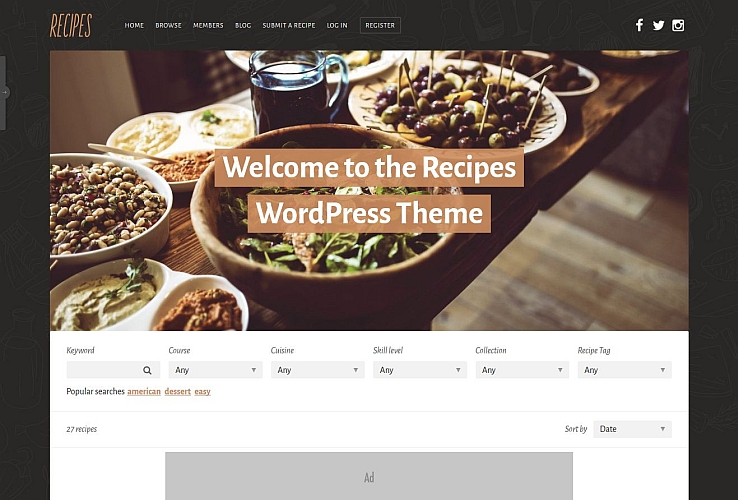 44 recipe wordpress themes postashio recipes wordpress theme via themeforest detailsdownload preview forumfinder