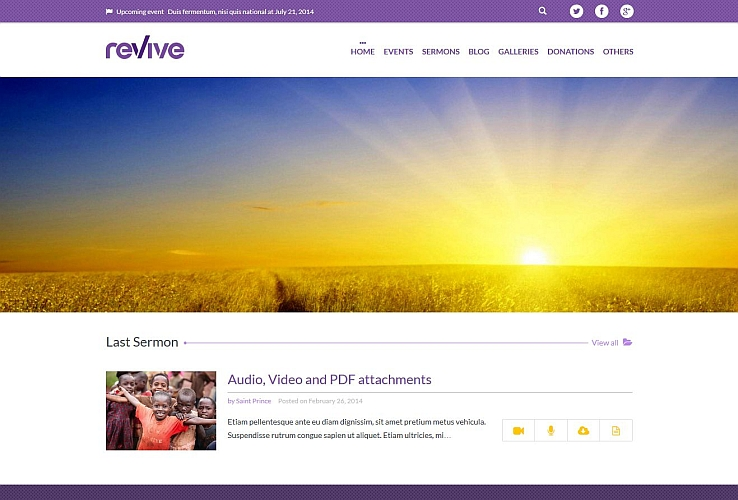 Revie WordPress Theme via ThemeForest