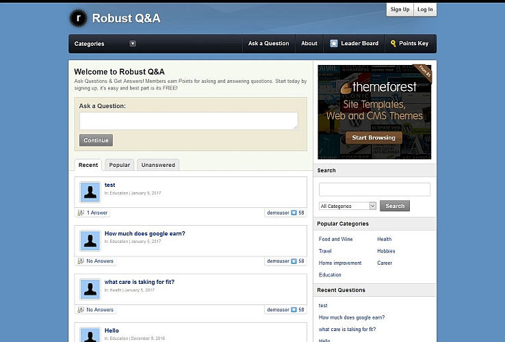 Robust Q&A WordPress Theme via ThemeForest