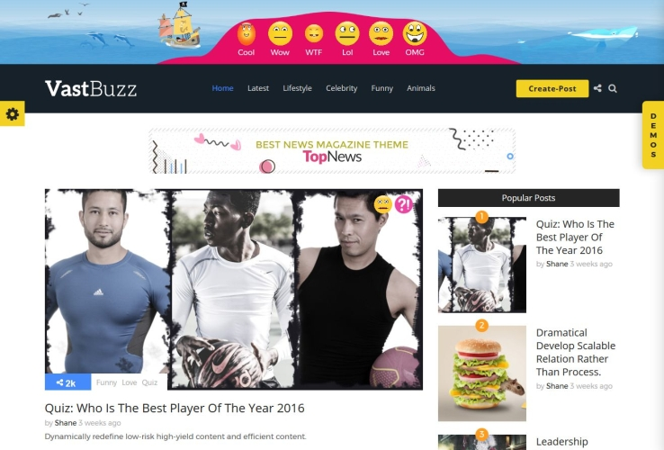 Vast Buzz WordPress Theme via ThemeForest